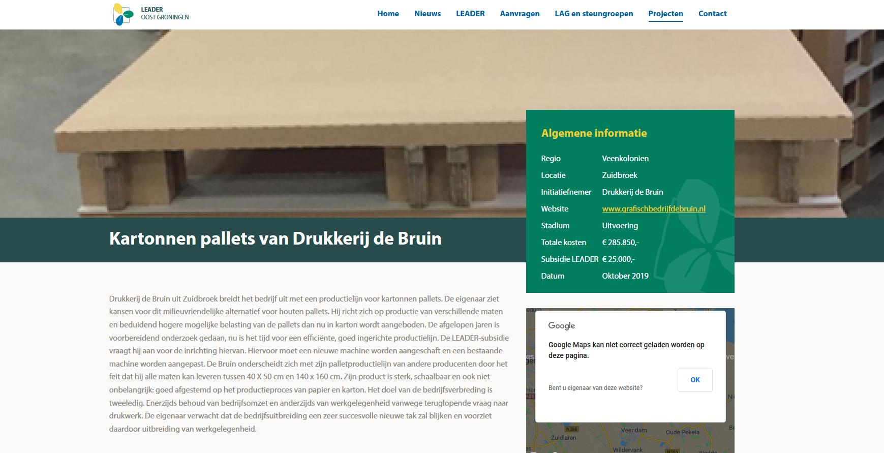 Kartonnen Pallets van Grafisch bedrijf De Bruin uit Zuidbroek, mede mogelijk gemaakt door LEADER Oost Groningen